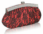 NEW RED SATIN CLUTCH BAG WITH LACE OVERLAY AND DIAMANTE DETAILING WEDDING