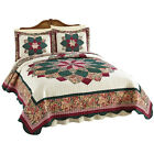 Collections Etc Quilted Floral Peacock Bedspread