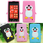 Lovely Penguin Soft Silicone Protective Back Cover Case For Nokia Lumia 520