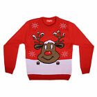 Adults Unisex Knitted Novelty Fun Xmas Festive Christmas Red Reindeer Jumper New
