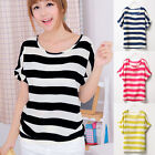 Fashion Womens Batwing Short Sleeve Chiffon Striped Loose Tops T Shirt Blouse