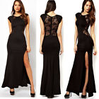 Sexy Split Side Maxi Dress with Lace Back Evening Party Cocktail Long Gown Dress
