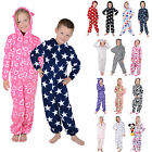 Kids Boys Girls Hooded Fleece All In One Pyjamas Onesie PJ Childrens Nightwear