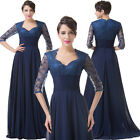 1/2Sleeve Charming Chiffon Evening Formal Prom Dress Mother of the Bride LONG HS