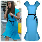 Womens Ladies Peplum Belted Bodycon Pencil Falbala Fishtail Party Cocktail Dress