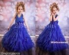 RoyalBlue Floor Length Dress Gown Wedding Flower Girl Bridesmaid Party 2-12y 313