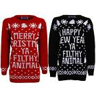 Women's Filthy Animal Christmas Happy New Year Ladies Knitted Oversized Jumper