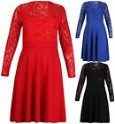 Womens New Long Sleeve Ladies Flared Lace Skater Swing Mini Dress Top Plus Size