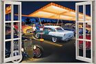 3D Window View Rock a Billy 50's America Diner Wall Sticker Film Decal 1110