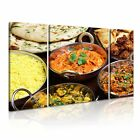 INDIAN FOOD 4 Asian Food & Drink 3B Canvas Framed Printed Wall Art ~ 3 Panels