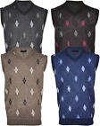 Mens V-neck Cardigan Argyle Design Sleeveless Sweater Jumper Casual Tank Top