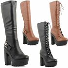 New Ladies High Block Heel Platform Cleated Sole Knee Length Boots UK Size 3-8
