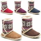 Womens Ladies Coolers Furry Ankle Slippers Velcro Knitted Winter Bootee Size