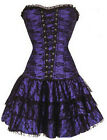 High Quality Satin Lace Up Boned Floral Pattern Corset With Skirt Size S-2XL