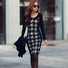 1PC Women Sexy Long Sleeve Slim Bodycon Grid Splice Cocktail Party Dress Durable