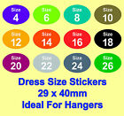 Coloured Ladies Dress Clothes Size Stickers - Sticky Labels