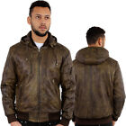 Aviatrix Nevada Hoodie Hooded Vintage Retro Winter Genuine Leather Jacket Brown