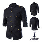 Mens Fashion Shirts Coats Slim Fit Button 3/4 Sleeve Metal Uniform Jackets