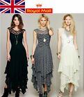Floral Lace Women Floor Length Cocktail Party Asymmetric Dress UK Local Shipping