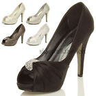 WOMENS LADIES HIGH HEEL PLATFORM WEDDING PROM BRIDAL COURT SANDALS SHOES SIZE
