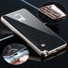 Deluxe Metal Aluminum Frame Carbon Fiber Case Cover For Samsung Galaxy Note 4