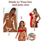 Canadian Flag Bikinis, red/white 3 styles made to your bra and jean size