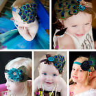 Pretth Cute Infant Baby Girl Kids Peacock Feather Headband Hair Flower Band