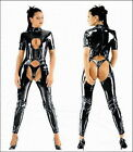 Black Faux Leather Catsuit Bodysuit All in One PVC Crotchless Fetish