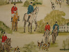 Horse And Hounds Hunting Scene Vintage Linen Curtain Upholstery Designer Fabric