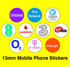 Mobile Phone Network Stickers - Unlocked / Any Network / Virgin / Tesco / O2
