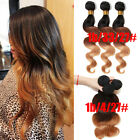 "US STOCK! 2PCS Ombre Color :1B/33/27#, 1B/4/27# 50g Brazilian Human Hair 12""-26"""