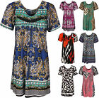 New Plus Size Womens Floral Print Short Sleeve Tunic Ladies Top 14-28