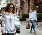 Fashion Women White Sheer Sleeve Embroidery Lace Crochet Tee Chiffon ShirtBlouse