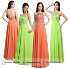 Crystal Halter Backless Maxi Prom Evening Gowns Party Dresses Bridesmaid 2015