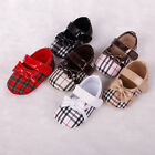 Cute Grid Bow Infant Toddler Shoes Baby Girls Soft Sole Velcro Crib Shoes