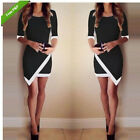 Ladies Sexy O Neck Short Sleeve Evening Party Bodycon Asymmetrical Mini Dress UK