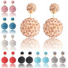 Fashion Celebrity Runway Double Crystal Shining Bead Plug Earrings Ear Studs Pin