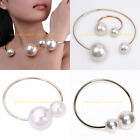 Fashion Charm Jewelry Set Gold Hoop Loop Wire White Pearl Bead Bracelet Necklace