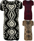 New Womens Aztec Pattern Print Short Sleeve Top Ladies Knitted Jumper Dress 8-14