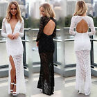 Womens long Maxi High Split Lace Cocktail Evening Party Wedding Masquerade Dress