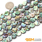 Natural Rainbow Abalone Shell Gemstone Coin Flatback Beads For Jewelry Making