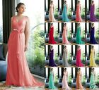 New Long Chiffon Beads Bridesmaid Formal Ball Party Cocktail Evening Prom Dress