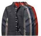 Tide NEW Thick Velvet Sweaters Men Cardigan zipper Top stand Collar KnitwearWBUS