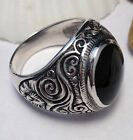 Sterling Silver Men's Ornate Bold Onyx Ring Sz 9-13