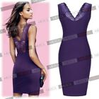 Sexy Womens Purple Lace Cocktail Evening Party Bodycon Pencil Short Mini Dresses