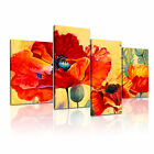 Red Poppies Flower Modern Wall Art Canvas Print Home Office Deco ~ 4pc Many Size