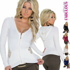 New Sexy Cardigan Hoodie For Women Size 6 8 10 Jumper Top Low Cut Sweater Zip