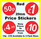 20mm Red Shop Price Point Stickers / Sticky Labels / Swing Tag Labels £1 £2 £5