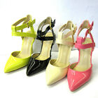 F9760- Ladies Anne Michelle Synthetic Patent Heels With Ankle Strap- 3 Colours!