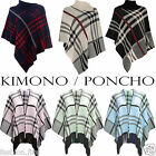 Ladies Women Knitted Poncho Kimono Check Tartan Chunky Cardigan Cape Wrap 8-14